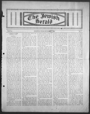 The Jewish Herald (Houston, Tex.), Vol. 3, No. 7, Ed. 1, Thursday, November 3, 1910