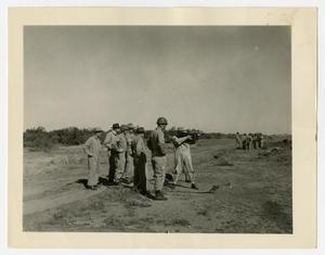 Primary view of object titled '[Machine Gun Range Near Dirt Road]'.