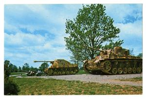 Primary view of object titled '[Postcard of Parked Tanks]'.