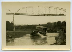 Primary view of object titled '[Photograph of Jeep in River]'.