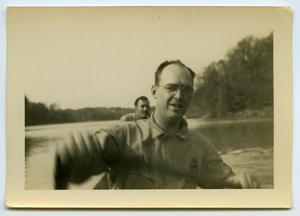 Primary view of object titled '[Two Men in a Canoe]'.