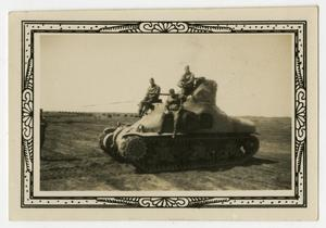 Primary view of object titled '[Three Soldiers on Tank]'.