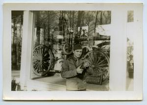 Primary view of object titled '[Photograph of a Soldier and a Machine]'.