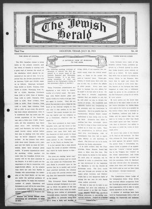 Primary view of object titled 'The Jewish Herald (Houston, Tex.), Vol. 3, No. 44, Ed. 1, Thursday, July 20, 1911'.