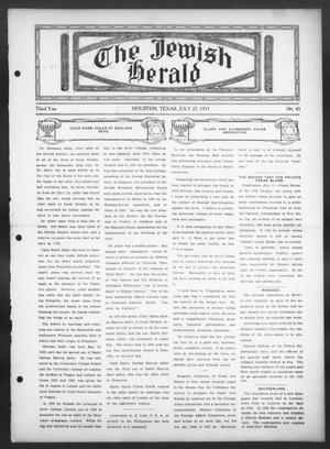 Primary view of object titled 'The Jewish Herald (Houston, Tex.), Vol. 3, No. 45, Ed. 1, Thursday, July 27, 1911'.
