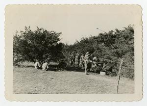 Primary view of object titled '[Photograph of a Chow Line on Bivouac at Camp Barkeley]'.