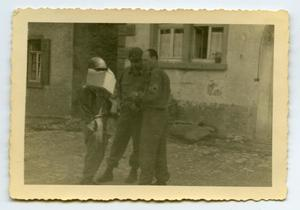 Primary view of object titled '[Photograph of Soldiers Talking]'.