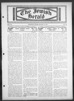 Primary view of object titled 'The Jewish Herald (Houston, Tex.), Vol. 3, No. 48, Ed. 1, Thursday, August 17, 1911'.