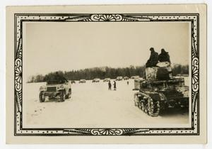 Primary view of object titled '[Vehicles in Snowy Field]'.