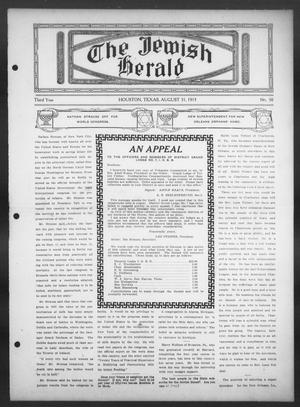 Primary view of object titled 'The Jewish Herald (Houston, Tex.), Vol. 3, No. 50, Ed. 1, Thursday, August 31, 1911'.