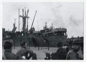 Primary view of object titled '[Photograph of Ship in Harbor]'.