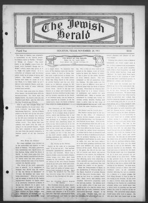 Primary view of object titled 'The Jewish Herald (Houston, Tex.), Vol. 4, No. 10, Ed. 1, Friday, November 24, 1911'.