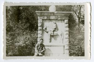 Primary view of object titled '[A Soldier Standing in Front of a Monument]'.
