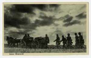 Primary view of object titled '[Postcard of German Horse-Drawn Wagon]'.