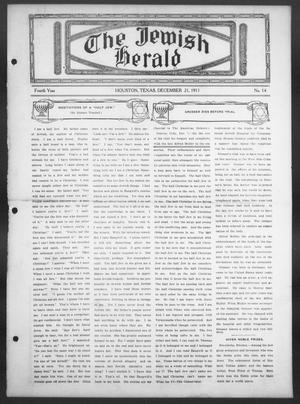 Primary view of object titled 'The Jewish Herald (Houston, Tex.), Vol. 4, No. 14, Ed. 1, Thursday, December 21, 1911'.