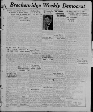 Primary view of object titled 'Breckenridge Weekly Democrat (Breckenridge, Tex), No. 27, Ed. 1, Friday, January 29, 1926'.