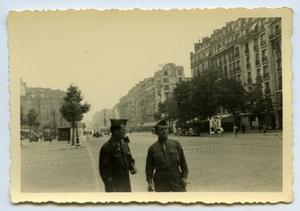 Primary view of object titled '[Photograph of Soldiers in European Street]'.