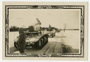 Primary view of object titled '[Group of Soldiers Behind Halftrack and Tank]'.