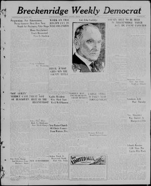 Primary view of object titled 'Breckenridge Weekly Democrat (Breckenridge, Tex), No. 34, Ed. 1, Friday, March 19, 1926'.