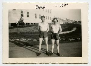 Primary view of object titled '[Photograph of 2 Soldiers in Shorts]'.