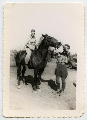 Primary view of object titled '[Photograph of a Soldier on a Horse]'.