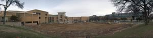 Primary view of object titled '[Betterlight Panoramic of Construction in front of UNT Union]'.