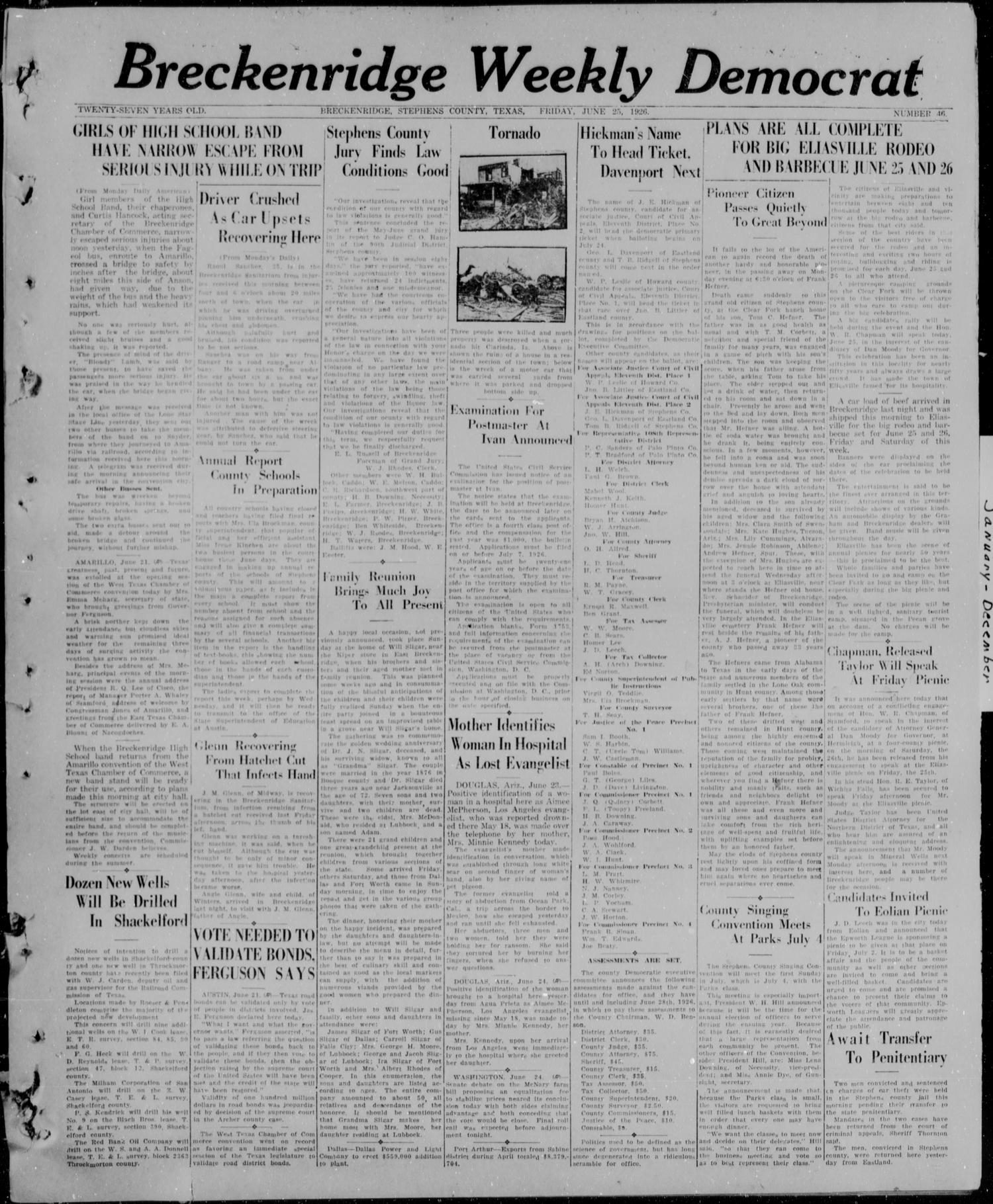 Breckenridge Weekly Democrat (Breckenridge, Tex), No. 46, Ed. 1, Friday, June 25, 1926                                                                                                      [Sequence #]: 1 of 4