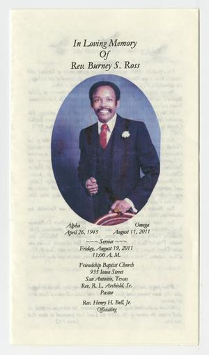Primary view of object titled '[Funeral Program for Burney S. Ross, August 19, 2011]'.