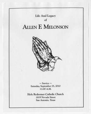 Primary view of object titled '[Funeral Program for Allen F. Melonson, September 25, 2010]'.