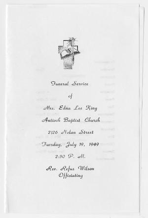 Primary view of object titled '[Funeral Program for Edna Lee King, July 19, 1949]'.