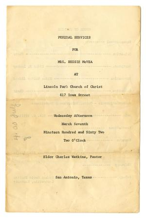 Primary view of object titled '[Funeral Program for Bessie McVea, March 7, 1962]'.