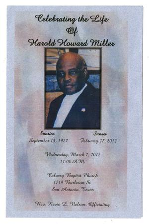 Primary view of object titled '[Funeral Program for Harold Howard Miller, March 7, 2012]'.
