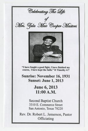 Primary view of object titled '[Funeral Program for Zula Mae Cooper Masters, June 6, 2013]'.