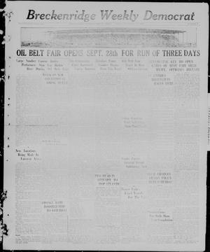 Primary view of object titled 'Breckenridge Weekly Democrat (Breckenridge, Tex), No. 7, Ed. 1, Friday, September 24, 1926'.