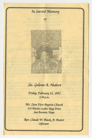Primary view of object titled '[Funeral Program for Gelena A. Hubert, February 12, 1993]'.