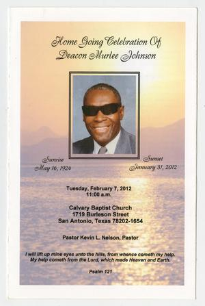 Primary view of object titled '[Funeral Program for Deacon Murlee Johnson, February 7, 2012]'.