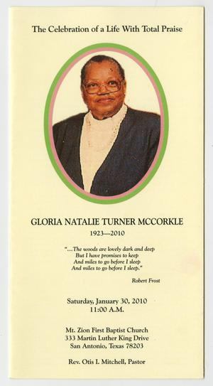 Primary view of object titled '[Funeral Program for Gloria Natalie Turner McCorkle, January 30, 2010]'.