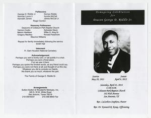 funeral program for deacon george d riddle sr april 21 2012