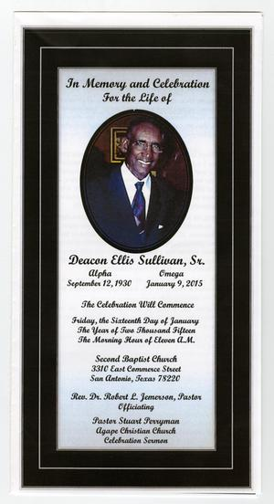 Primary view of object titled '[Funeral Program for Deacon Ellis Sullivan, Sr., January 16, 2015]'.