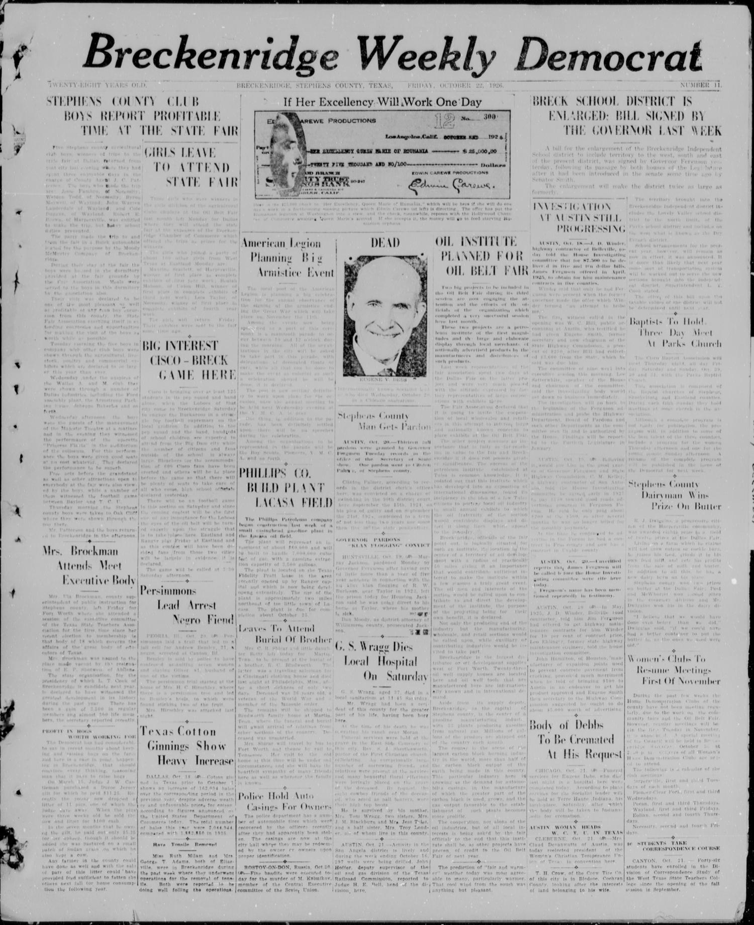 Breckenridge Weekly Democrat (Breckenridge, Tex), No. 11, Ed. 1, Friday, October 22, 1926                                                                                                      [Sequence #]: 1 of 4