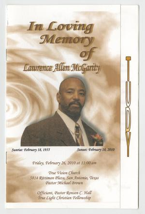 Primary view of object titled '[Funeral Program for Lawrence Allen McGarity, February 26, 2010]'.