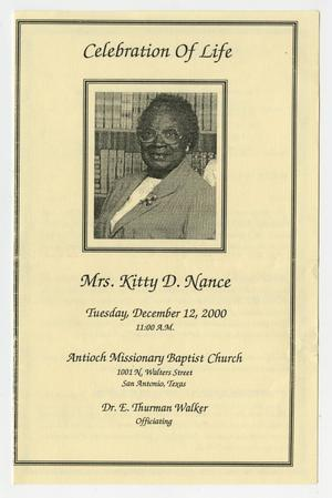 Primary view of object titled '[Funeral Program for Kitty D. Nance, December 12, 2000]'.