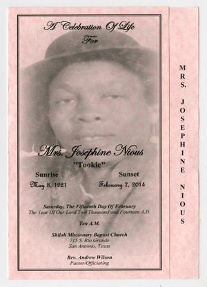 Primary view of object titled '[Funeral Program for Josephine Nious, February 15, 2014]'.