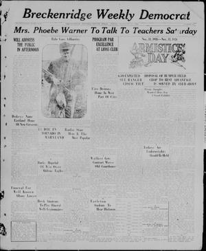 Primary view of object titled 'Breckenridge Weekly Democrat (Breckenridge, Tex), No. 14, Ed. 1, Friday, November 12, 1926'.