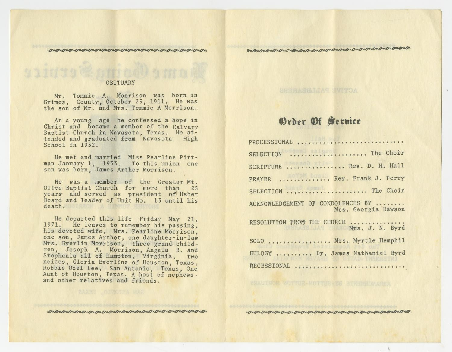 Funeral Program for Tommie A  Morrison, May 25, 1971] - Page