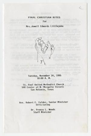 Primary view of object titled '[Funeral Program for Jewell Edwards Littlejohn, November 14, 1995]'.
