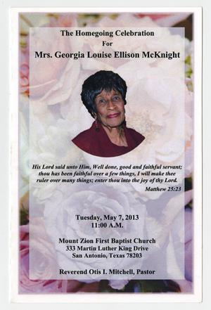 Primary view of object titled '[Funeral Program for Georgia Louise Ellison McKnight, May 7, 2013]'.