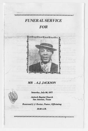 funeral program for a j jackson july 30 1977 the portal to