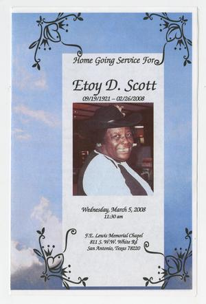 Primary view of object titled '[Funeral Program for Etoy D. Scott, March 5, 2008]'.
