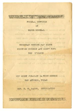 Primary view of object titled '[Funeral Program for Elzie Micheal, May 6, 1965]'.